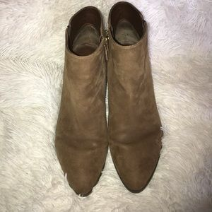 Franco Sarto Leather Suede Booties Tan Size 9 zips